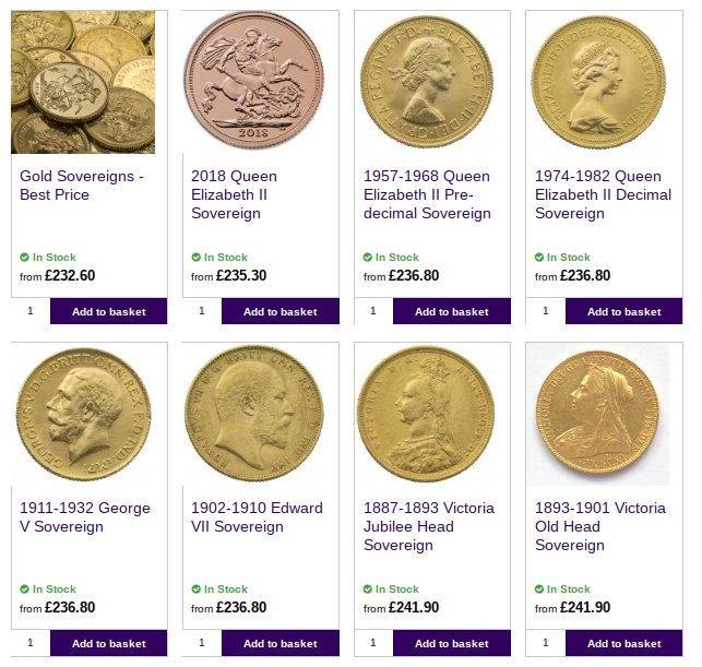 Buy Gold Coins Best Prices UK