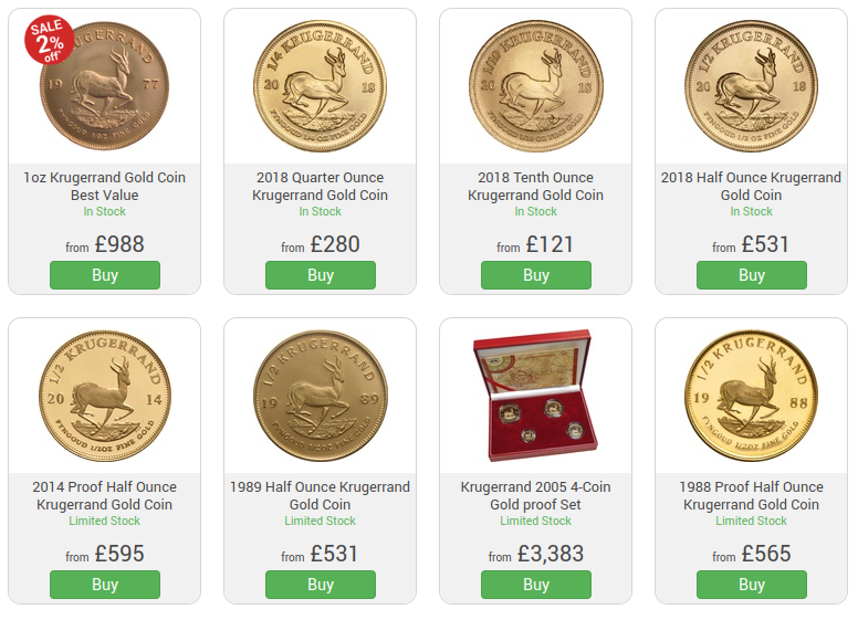 Buy Gold Sovereign and Krugerrand Coins in Leeds UK